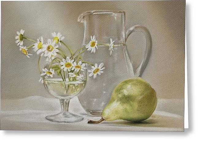 Fruit And Flowers Greeting Cards - Pear and Daisies Greeting Card by Natasha Denger