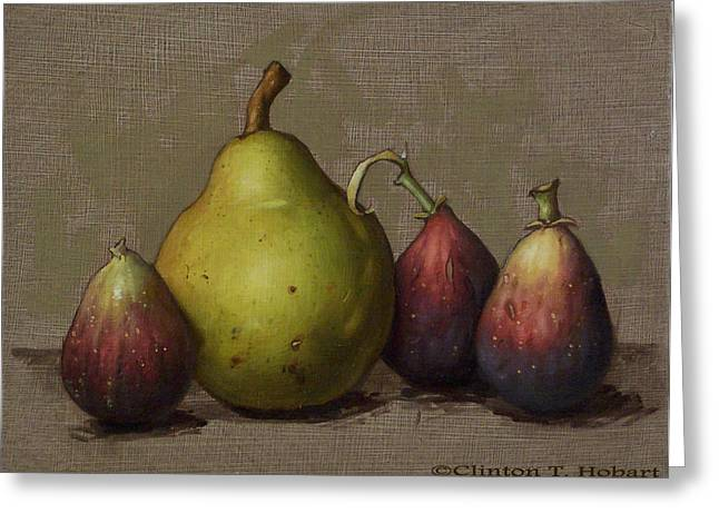 Fruit Greeting Cards - Pear and Figs Greeting Card by Clinton Hobart