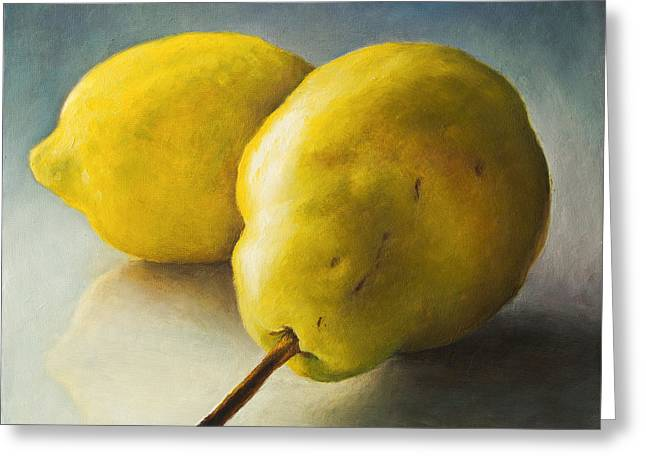 Recently Sold -  - Harvest Art Greeting Cards - Pear and lemon Greeting Card by Anna Abramska