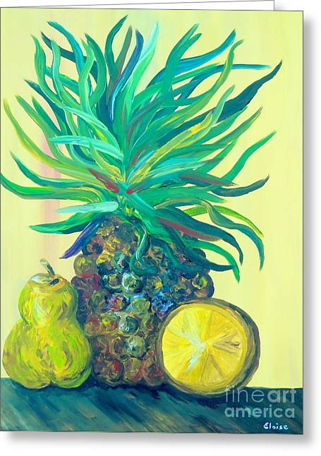 Vegetables Greeting Cards - Pear and Pineapple Greeting Card by Eloise Schneider
