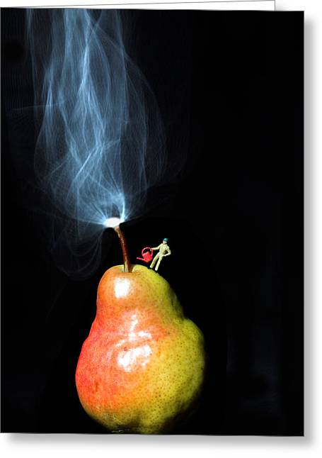 Tricks Greeting Cards - Pear And Smoke little people on food Greeting Card by Paul Ge