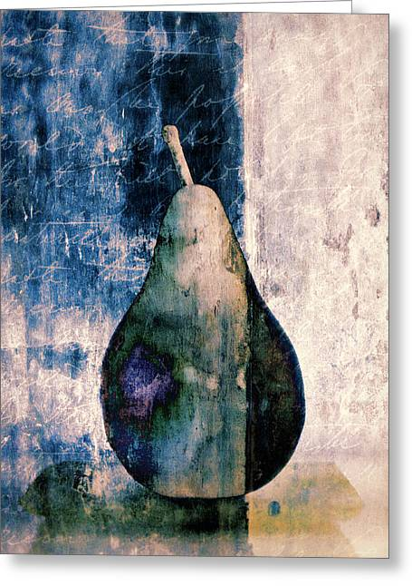 Rectangles Digital Art Greeting Cards - Pear in Blue Greeting Card by Carol Leigh