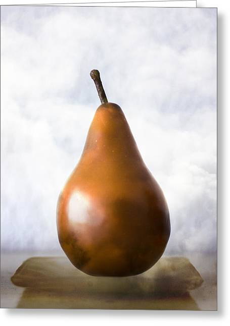 Brown Pears Greeting Cards - Pear in the Clouds Greeting Card by Carol Leigh