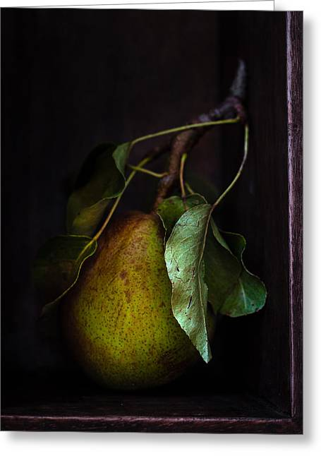 Cupboard Greeting Cards - Pear In The Cupboard Greeting Card by Constance Fein Harding