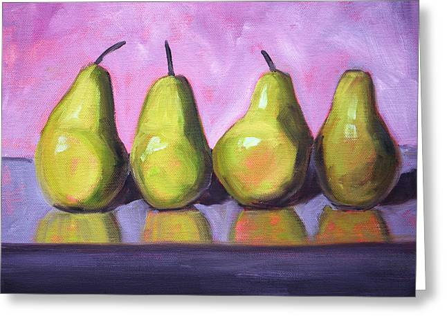 Reflection Harvest Greeting Cards - Pear Line Greeting Card by Nancy Merkle