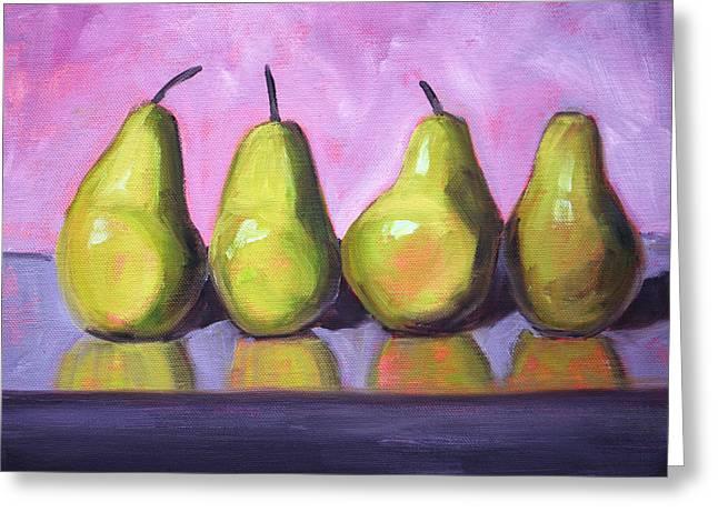 Pear Art Greeting Cards - Pear Line Greeting Card by Nancy Merkle