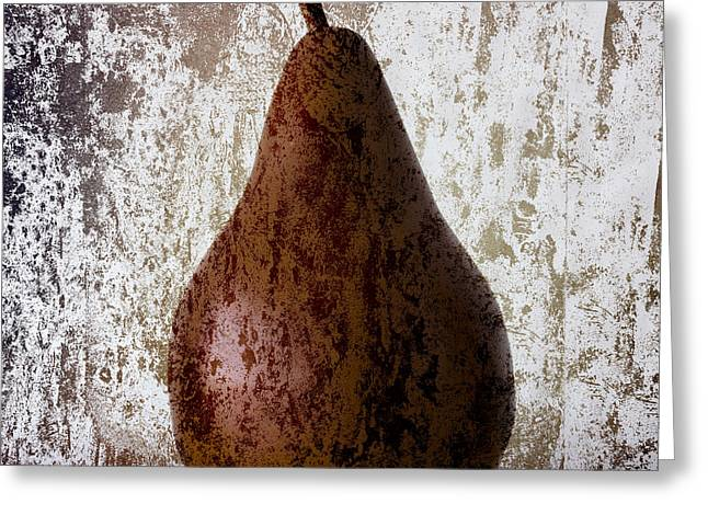 Pear on the Rocks Greeting Card by Carol Leigh