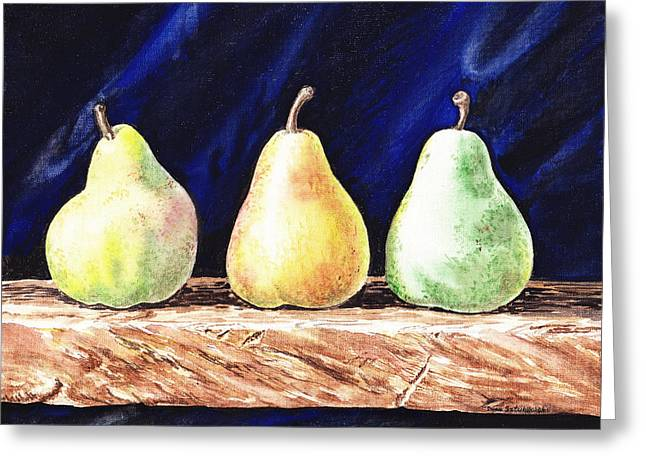 Old Master Greeting Cards - Pear Pear and Pear Greeting Card by Irina Sztukowski