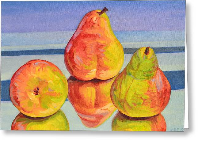 Pear Reflection Greeting Card by Kenneth Cobb