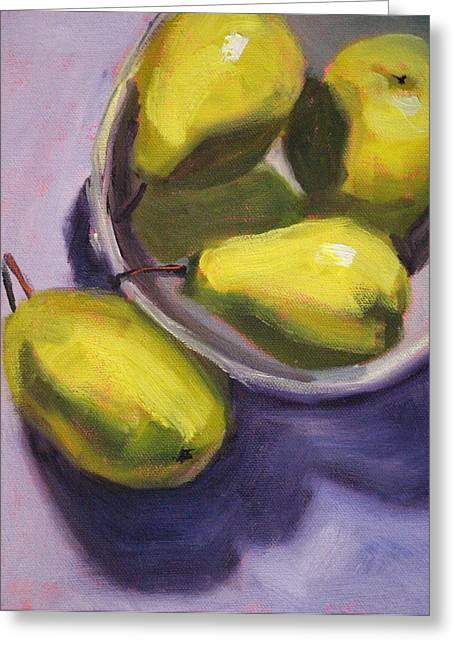 Bosc Greeting Cards - Pear Shadows Greeting Card by Nancy Merkle