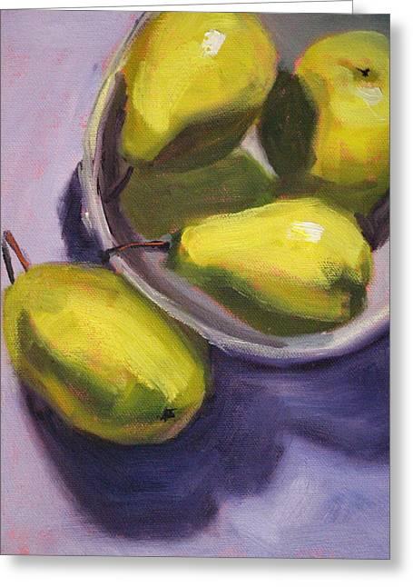 Pear Art Greeting Cards - Pear Shadows Greeting Card by Nancy Merkle