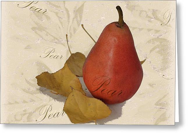 Still Life With Pears Greeting Cards - Pear Square Greeting Card by Kae Cheatham