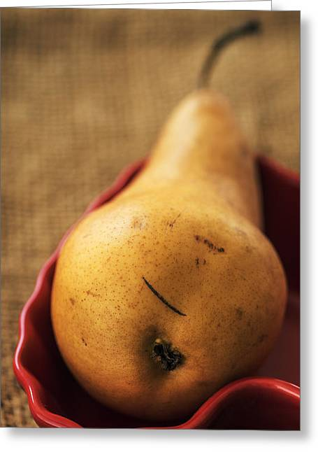 Bosc Greeting Cards - Pear still life Greeting Card by Vishwanath Bhat