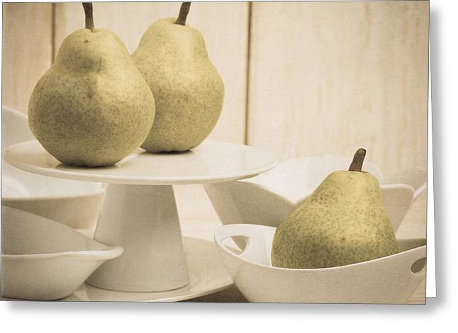 Pear Art Greeting Cards - Pear still life with white plates square format Greeting Card by Edward Fielding