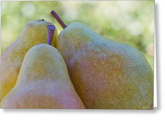 Bosc Greeting Cards - Pear Trio Greeting Card by Heidi Smith