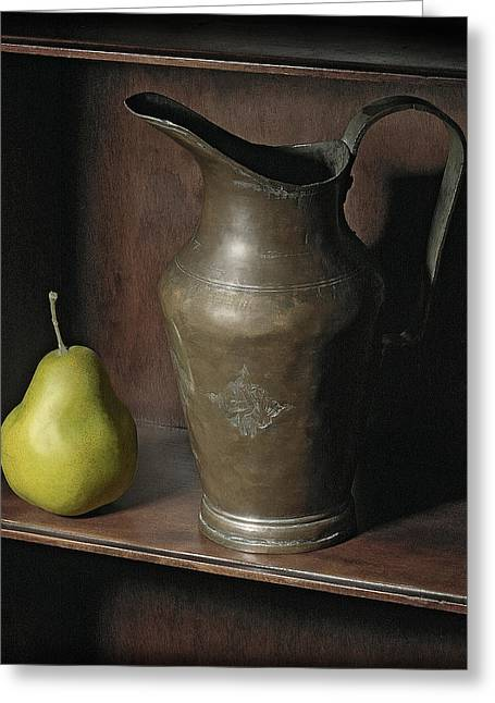 Quality Pyrography Greeting Cards - Pear With Water Jug Greeting Card by Krasimir Tolev