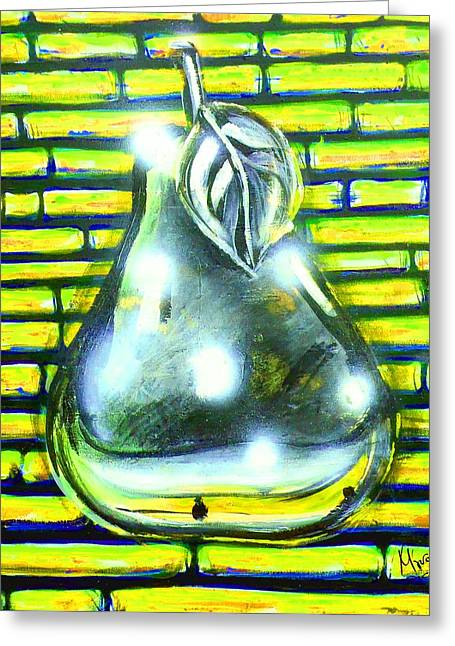 Banquet Digital Art Greeting Cards - Pear - Yellow kind of Greeting Card by Marcello Cicchini