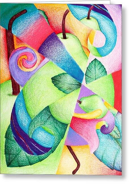 Pear Art Drawings Greeting Cards - Pearish the Thought Greeting Card by Sophia Madeline