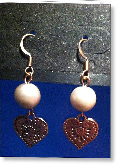 Heart Jewelry Greeting Cards - Pearl and Copper Heart Earrings Greeting Card by Kimberly Johnson