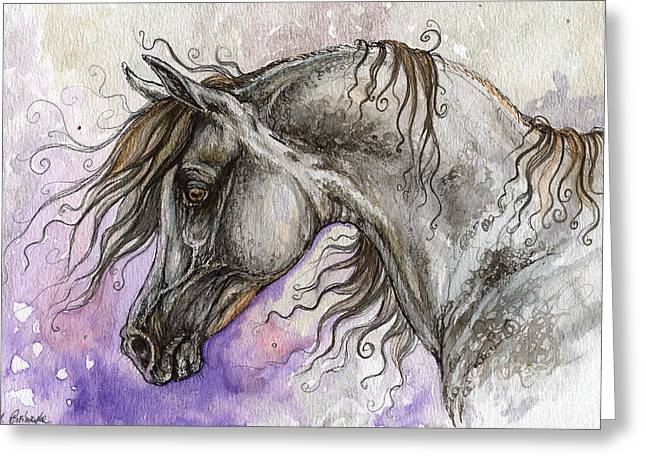 Pearls Drawings Greeting Cards - Pearl arabian horse Greeting Card by Angel  Tarantella
