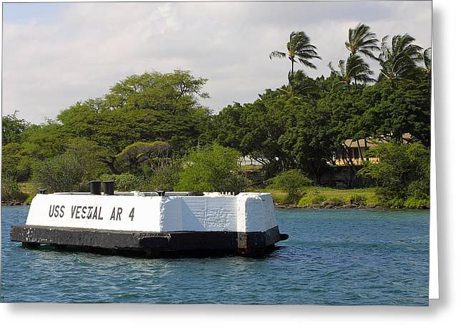 Habor Greeting Cards - Pearl Harbor marker for USS Vestal Greeting Card by Linda Phelps