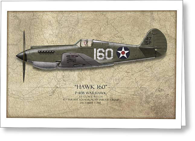 Warhawk Greeting Cards - Pearl Harbor P-40 Warhawk - Map Background Greeting Card by Craig Tinder