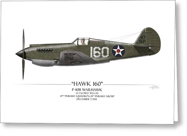 Warhawk Greeting Cards - Pearl Harbor P-40 Warhawk - White Background Greeting Card by Craig Tinder