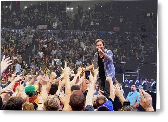 Pearl Jam Digital Art Greeting Cards - Pearl Jam - Eddie Vedder Greeting Card by Michael  Wolf