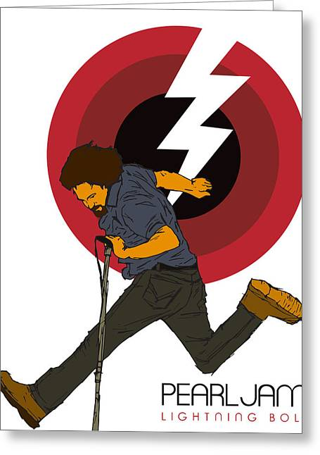Pearl Jam Greeting Cards - Pearl Jam Lightning Bolt Greeting Card by Tomas Raul Calvo Sanchez