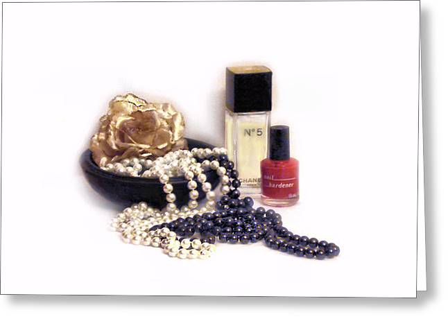 Recently Sold -  - Ocean Photography Greeting Cards - Pearl Jewelry And Chanel Number Five Greeting Card by Alla Albert