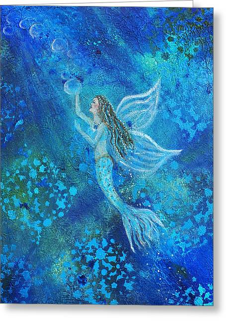 Angel Mermaids Ocean Greeting Cards - Pearl Out of the Depths Greeting Card by The Art With A Heart By Charlotte Phillips