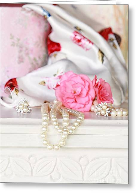 No Clothing Greeting Cards - Pearls and Flowers Greeting Card by Stephanie Frey