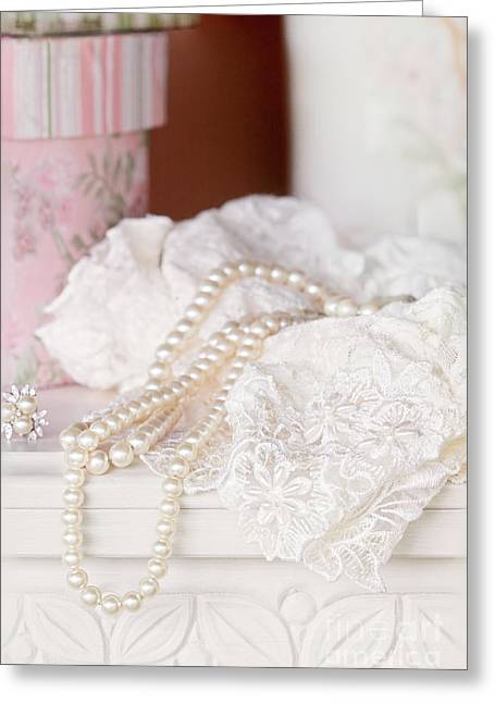 No Clothing Greeting Cards - Pearls and Lacy Lingerie Greeting Card by Stephanie Frey