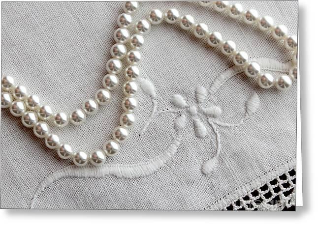 White Jewelry Greeting Cards - Pearls and Old Linen Greeting Card by Barbara Griffin