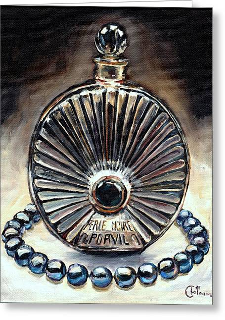 Bottle Of Perfume Greeting Cards - La Perle Noire 1922  Greeting Card by Cecely Bloom