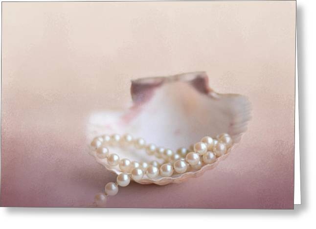 Pearls On A Shell Greeting Card by Jai Johnson