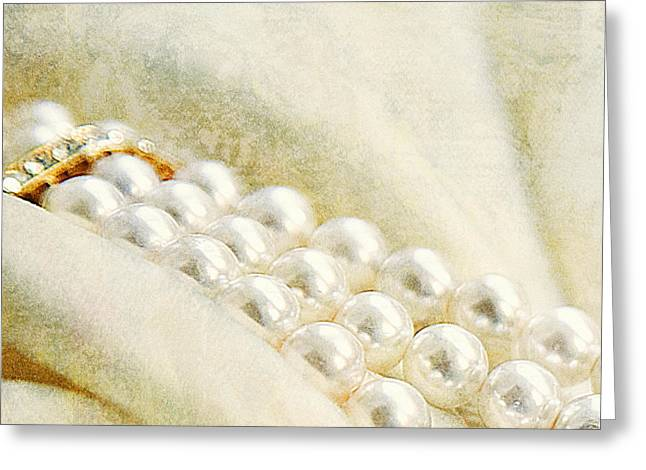 Pearl Jewelry Greeting Cards - Pearls On White Velvet Greeting Card by Theresa Tahara