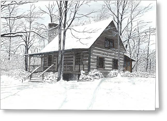 Mountain Cabin Mixed Media Greeting Cards - Pearls Place Greeting Card by Cloud Farrow