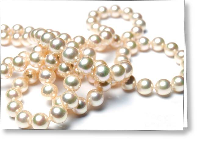 Jewellery Greeting Cards - Pearly pearls Greeting Card by Sinisa Botas