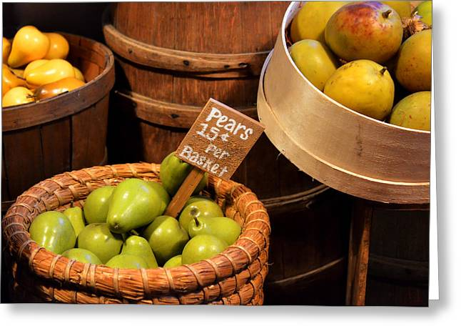 Fresh Greeting Cards - Pears - 15 cents per basket Greeting Card by Christine Till