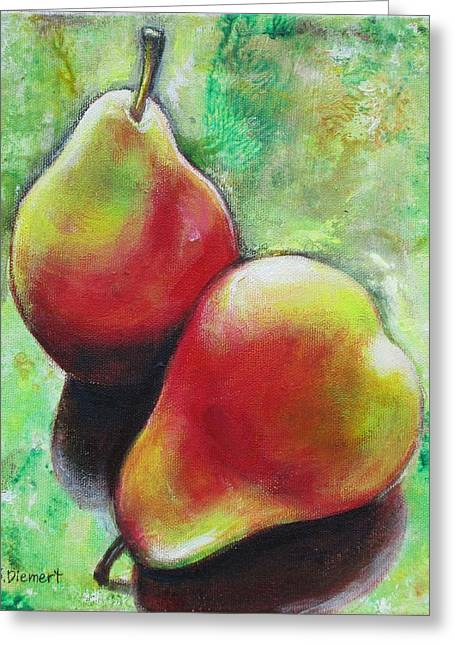 Pears 2 Greeting Card by Sheila Diemert