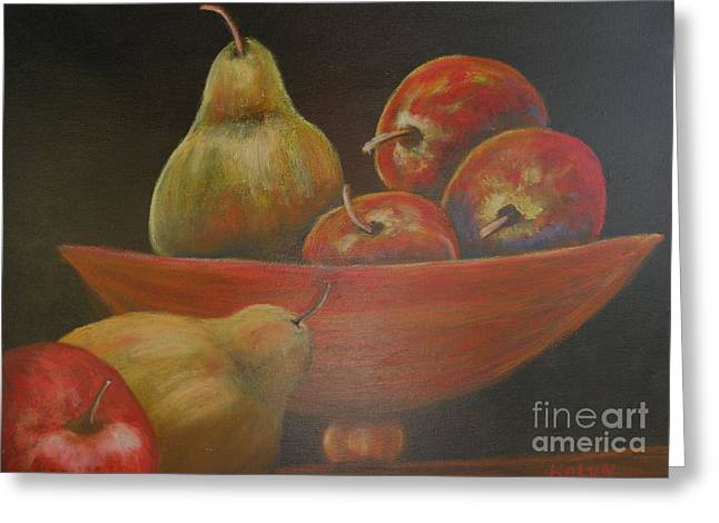 Wooden Bowls Paintings Greeting Cards - Pears and Apples Greeting Card by Kalyn Davis
