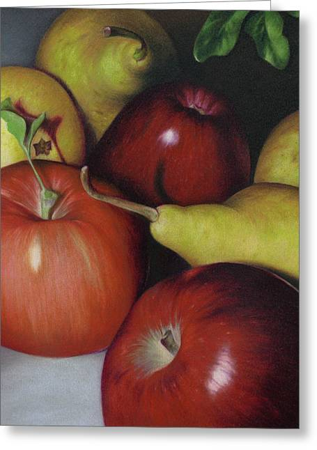 Bosc Greeting Cards - Pears and Apples Greeting Card by Natasha Denger