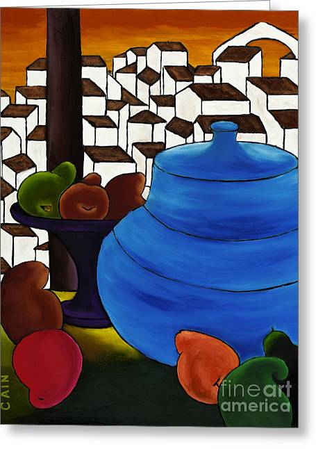 William Cain Greeting Cards - Pears And Blue Pot Greeting Card by William Cain