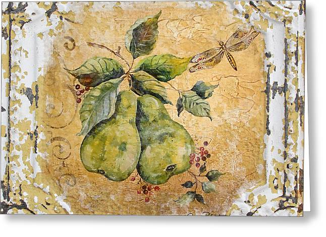 Metal Dragonfly Greeting Cards - Pears and Dragonfly on Vintage Tin Greeting Card by Jean Plout