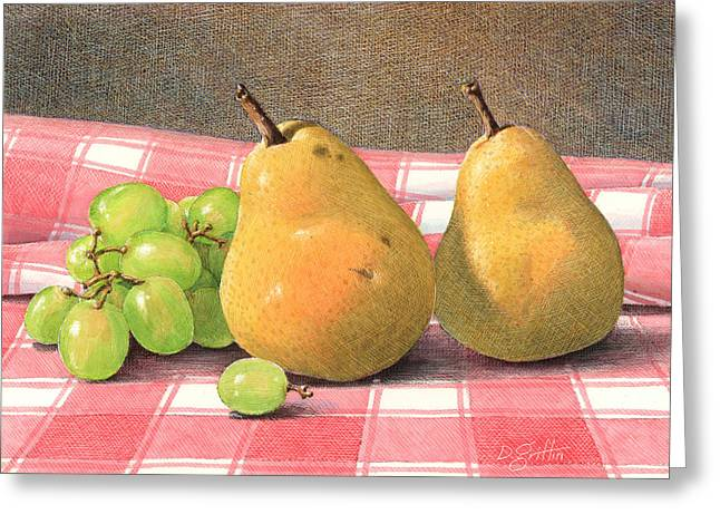 Pear Art Drawings Greeting Cards - Pears and Grapes Greeting Card by David Griffin