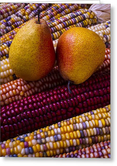 Fall Fruit Greeting Cards - Pears and Indian corn Greeting Card by Garry Gay