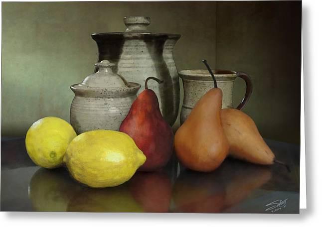 Ceramic Digital Art Greeting Cards - Pears and Lemons Greeting Card by Matthew Schwartz