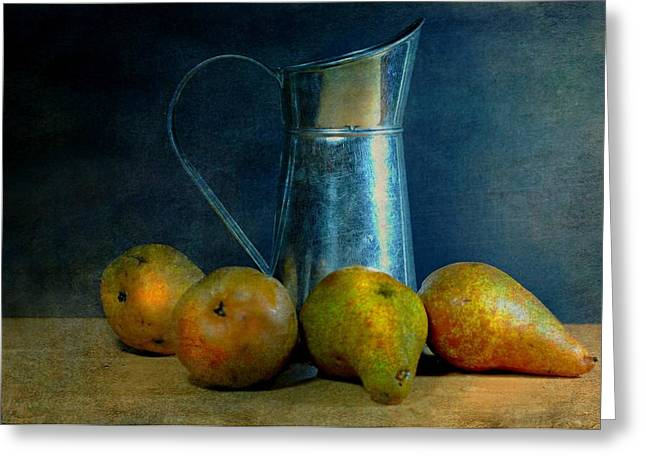 Still Life With Pitcher Greeting Cards - Pears and Pitcher Greeting Card by Diana Angstadt