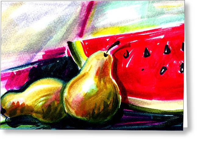 Watermelon Drawings Greeting Cards - Pears and Watermelon Greeting Card by Ben De Soto
